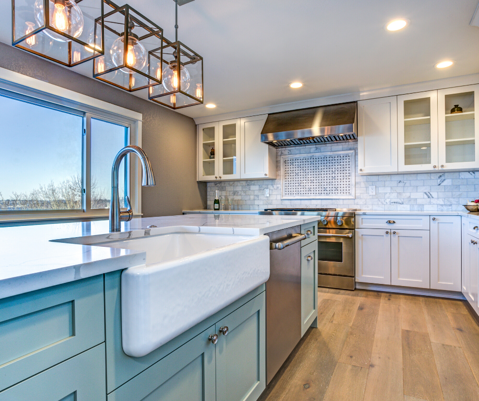 Remodeled kitchen with blue cabinet